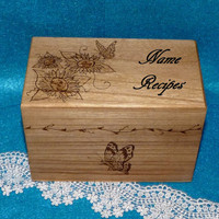 Recipe Box- Wood Burned, Wood Recipe Box, Butterfly, Sunflowers, Vintage Style, Decorative Wood Box, Burned, Rustic, Bridesmaid Gift