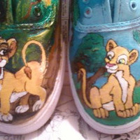 SALE Lion King Custom Painted Canvas Shoes Hakuna Matata Simba and Nala ANY SIZE or Character