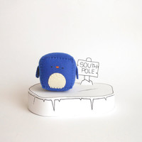 Blue Penguin pincushion, stuffed needlecraft cube and soft toy