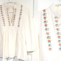 70's Flower Blouse - Hippie, Floral