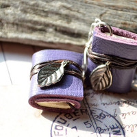 Miniature books earrings Leaves &amp; purple leather