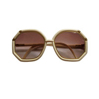 Ted Lapidus - 1970's TED LAPIDUS cream and gold oversized sunglasses