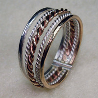 Stack Ring Argentium Silver Twisty 14kt Gold by AviationJewelry