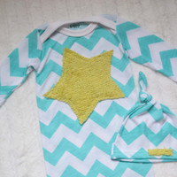 Chevron baby outfit. Gown and hat.  Aqua blue with light green fuzzy star.    (Made by lippybrand)