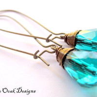 Peacock Teal Swarovski Crystal Earrings on by VintageOoakDesigns