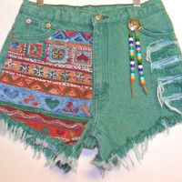 Vintage High Waist Green   Denim Shorts Aztec  with Beads Waist 27  inch