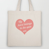 My Heart &amp; The Sea Tote Bag by LitPrints | Society6