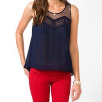 Dotted Lace Sheer Top | FOREVER 21 - 2031557135