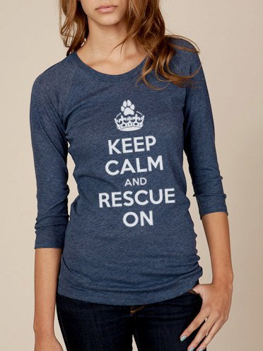Keep Calm and Rescue On Gauze Women's Baseball Tee in by ShopRIC