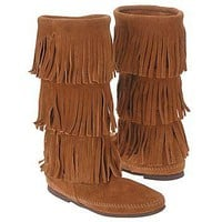 Women's Minnetonka Moccasin Calf Hi 3-Layer Fringe Brown
