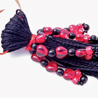 Black Tassel Beaded with Red Hearts Valentines by lizbethsgarden