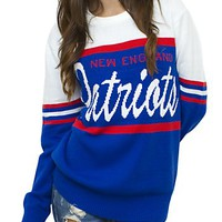 NFL New England Patriots Unisex Throwback Intarsia Sweater - Men's Collections - NFL - New England Patriots - Junk Food Clothing