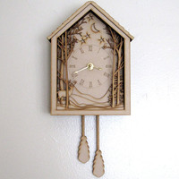 Cuckoo Clock  Winter Midnight Forest Diorama Laser Cut by seequin
