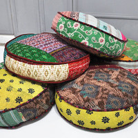 Patchwork floor cushion covers - Indian Kanta Quilt fabrics - II