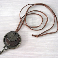 Antique Key and Brass Ring on Leather Pendant Necklace by schmeiky