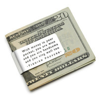 "YIDDISH PROVERB MONEY CLIP | Funny ""With Money in Your Pocket...Wise, Handsome"" Etched Aluminum Cash Accessory 