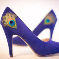 New Years Sale  Navy Peacock Pumps  Size 8 by LaPlumeEthere