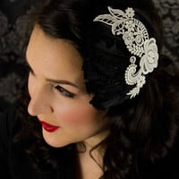 Aster  Black Feather Fascinator with White Venise by LaPlumeEthere