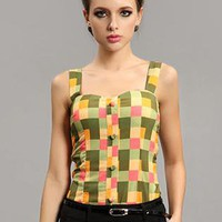 Green Vintage Plaid Tank Tops S010033