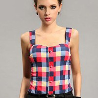 Red Vintage Plaid Tank Tops S010034