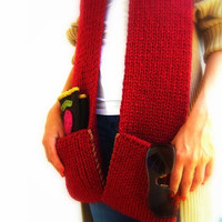 Cozy Custom Scarf Unisex Chunky knit With Pockets by JustColor
