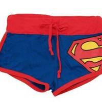 Amazon.com: Superman DC Comics Front Tie Juniors Pajama Booty Shorts: Clothing