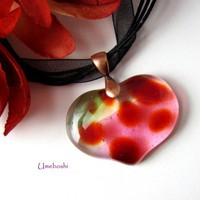 Mottled Red and Clear Fused Glass Heart Pendant, Hints of Green - Pink