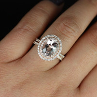 Original Cara 14kt Rose Gold Thin Oval Morganite by RosadosBox
