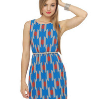Cute Blue Dress - Print Dress - Open Back Dress - &amp;#36;36.00