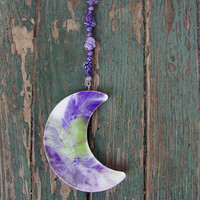 Purple Green and White Tie Dye Moon by Medusa13 on Etsy