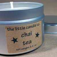 Soy Candle Tin Chai Tea Scented Little Tin by littlecandles
