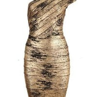 Starry black and gold foil Single Shoulder Bandage Dress