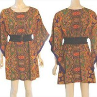 Vintage 1970s Hippie Boho Festival Mini Dress