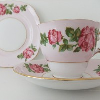 Vintage China Tea Cup, Saucer And Plate - Vintage Colclough English Bone China - Pink With Pink Rose | Luulla