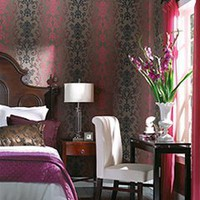 Damask Swirled Wallpaper in Reds and Browns by Carey Lind - Seabrook Designs