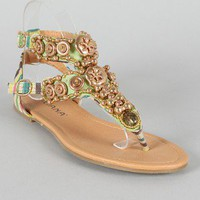 Liliana Tara-1 Tribal Beaded T-Strap Flat Sandal