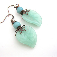 Spring Mint Earrings Leaf Print Copper Agate Stone Handmade Jewelry OOAK