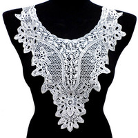 Floral Triangle White Necklace Collar with Embroidered Flower Pattern for Top, Shirt, Blouse and Dress Embellishments.