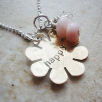Fun Happy flower handstamped brass necklace with pink peruvian opals