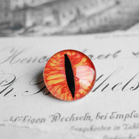 16mm handmade glass eye cabochon - orange/red cat or dragon eye