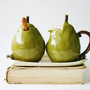 Porcelain Sugar and Creamer Set - Pears Handmade Sculptures - Kitchen Table Home Decor - OOAK Olive Green and French Cream