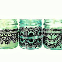 Set of Three Moroccan Inspired Mini Jar Candles Green by LITdecor