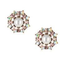 PEARL CRYSTAL ROUND STUD EARRINGS - Betsey Johnson