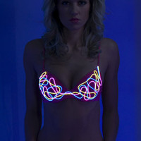 Light up Bra:  eL wire hand sewn squiggle pattern BURNING MAN Neon bra - NeonNancy.com