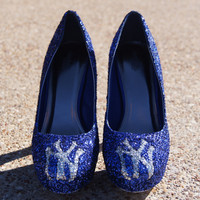 NY Yankees Inspired Glitter Shoes by BlingFabulousFeet on Etsy