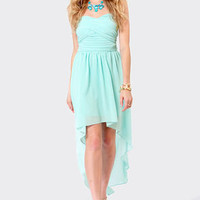 Ruched Reverie Light Blue Strapless Dress