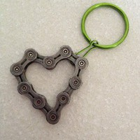 Heart Keychain 6 - Upcycled Bicycle Chain - Cycling Recycled Parts