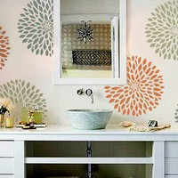 STENCIL for Walls - Chrysanthemum no. 2 - Flower stencil for Walls - Reusable Modern Wall Decor