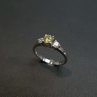 Diamond Engagement Ring in 14K White Gold by honngaijewelry