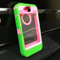 Otter box Defender For iPhone 4 Lime Green And Pink